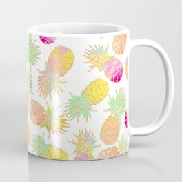 Tropical neon pink teal watercolor faux gold glitter pineapple Coffee Mug