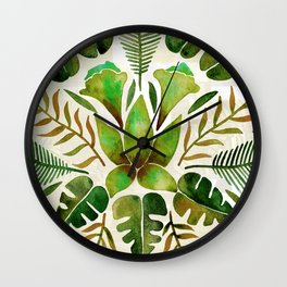 Tropical Symmetry – Olive Green Wall Clock