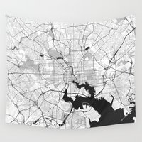 baltimore Wall Tapestries featuring Baltimore Map Gray by City Art Posters