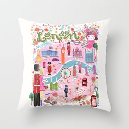 London in Bloom Throw Pillow