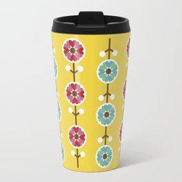Scandinavian inspired flower pattern - yellow background Travel Mug