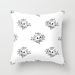 Floral Skull in Black Throw Pillow