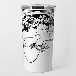 Line Drawing of Irish Woman Holding Shamrocks Travel Mug