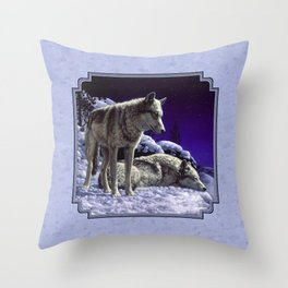 Night Watch Wolves in Snow Throw Pillow