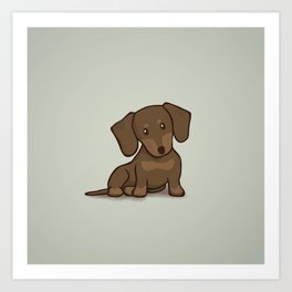 Daschund Puppy Illustration Art Print