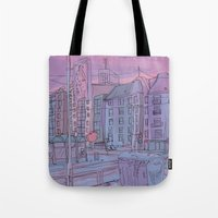 budapest Tote Bags featuring Budapest through pencil by Zsolt Vidak