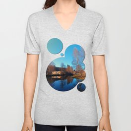Winter mood on the river II | waterscape photography Unisex V-Neck