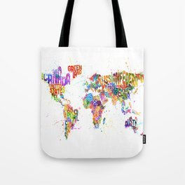 Paint Splashes Typography Text World Map Tote Bag