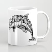 ornate Mugs featuring Ornate Dolphin by BIOWORKZ