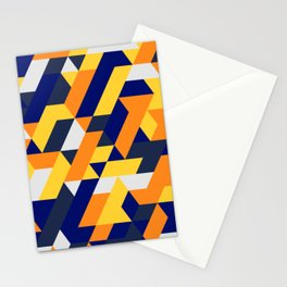 Yellow White And Blue Diamond Abstract Stationery Cards