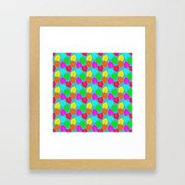 Neon Hawaiian Rainbow Monstera Leaves on Blue Framed Art Print