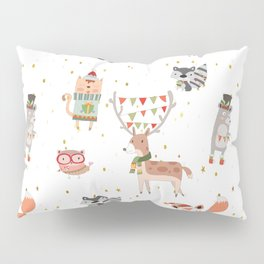 Cute Christmas Woodland Animals Pillow Sham