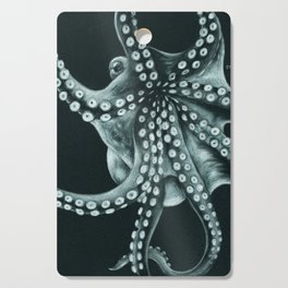Green Octopus Tentacles Teal Colored Pencil Cutting Board