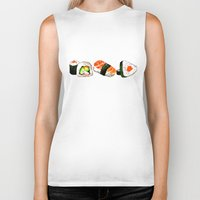 sushi Biker Tanks featuring SUSHI by Sandpaperdaisy