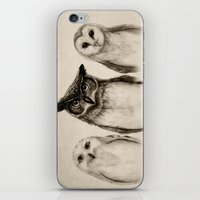 faces iPhone & iPod Skins featuring The Owl's 3 by Isaiah K. Stephens