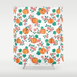 Pumpkins and Roses Shower Curtain