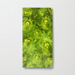 Mosaic of owls green and yellow color V Beach Towels Metal Print