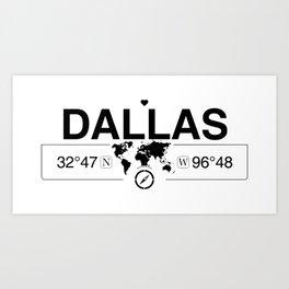 Dallas Texas Map GPS Coordinates Artwork with Compass Art Print