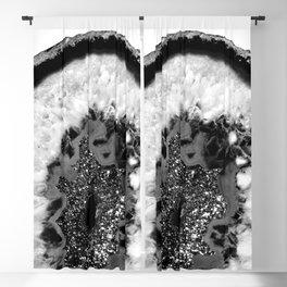 Gray Black White Agate Glitter Glamor #1 #gem #decor #art #society6 Blackout Curtain