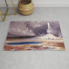 The Castle Geyser, Yellowstone Park landscape painting by Thomas Moran Rug