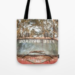 Rusty Red Fire Truck Tote Bag