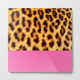 Leopard skin with hot pink Metal Print
