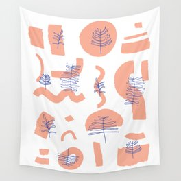 Abstract Minimal Shapes Plants 01 Tropical Modern Illustration Drawing Pattern Texture Wall Tapestry