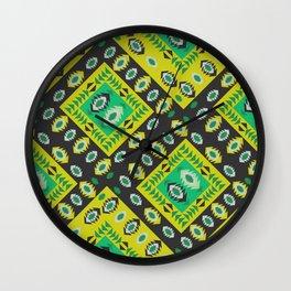 Happy ethnic diamond in green Wall Clock