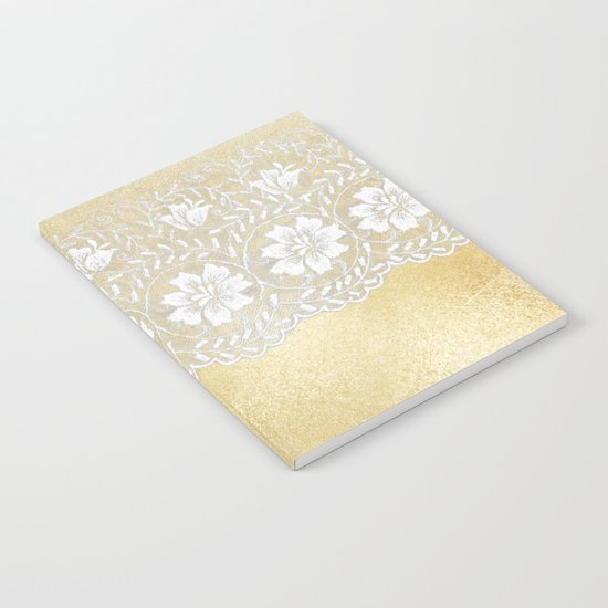 Bridal lace - White floral elegant lace on gold metal backround Notebook