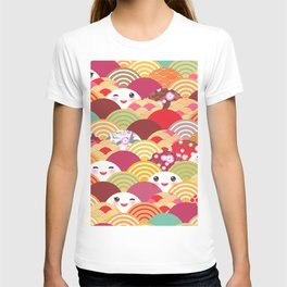 Kawaii Nature background with japanese sakura flower, wave pattern T-shirt