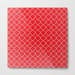 Red and white quatrefoil repeating pattern Metal Print