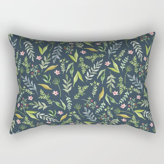 Floral blue pattern. Watercolor Rectangular Pillow