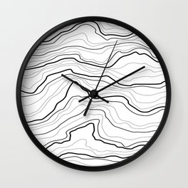 Black and white tree rings or rock layers or sea waves Wall Clock