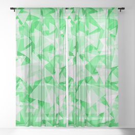 white triangles on bold green background geometrical pattern design Sheer Curtain