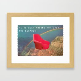 We've been around for over two decades (Red chair and the Grand Canyon) Framed Art Print