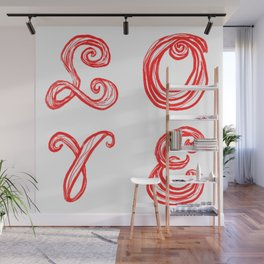 LOVE word art fabric font red letters inspired by Love Park in Philadelphia Wall Mural