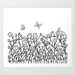 Poppies and Butterflies black & white Art Print