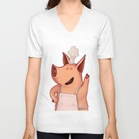 piglet V-neck T-shirts featuring Dress the Piglet by Anna Cannuzz