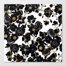 Modern Elegant Black White and Gold Floral Pattern Canvas Print