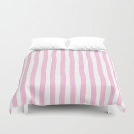 Pink and White Palm Beach Preppy Cabana Stripes Duvet Cover
