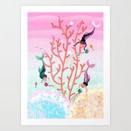 Mermaids' Coral Garden childrens' illustration Art Print