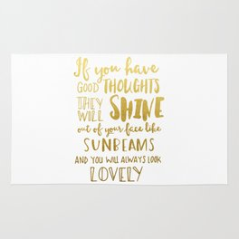 Good thoughts - gold lettering Rug