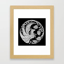 Traditional White and Black Chinese Phoenix Circle Framed Art Print