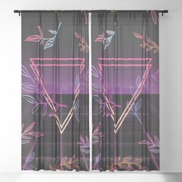 Synthwave Leaves Aesthetic Sheer Curtain