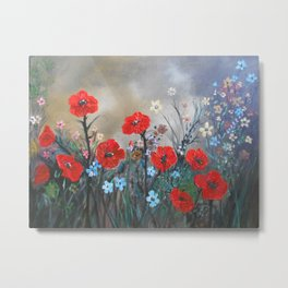 Impasto Red Poppy Love Garden Metal Print