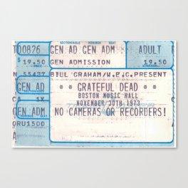 Concert Ticket Stub - The Dead - Boston Music Hall Canvas Print