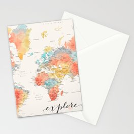 """Explore"" - Colorful watercolor world map with cities Stationery Cards"
