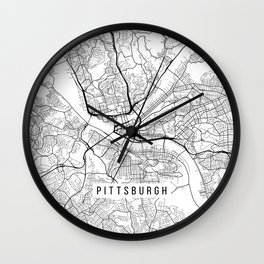 Pittsburgh Map, USA - Black and White Wall Clock