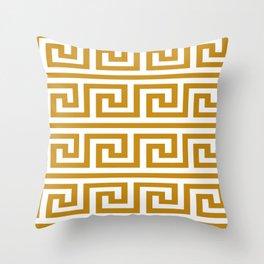 Gold Greek Key Throw Pillow