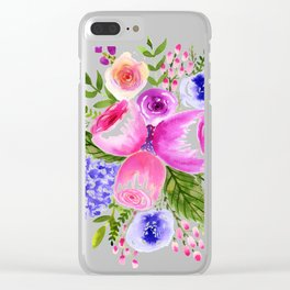 Purple flower infusion Clear iPhone Case